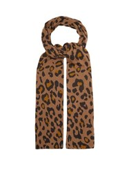 Allude Leopard Print Wool Scarf Brown