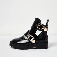 River Island Womens Black Patent Wide Fit Cut Out Buckle Boots