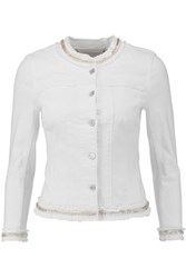 7 For All Mankind Bead Embellished Stretch Denim Jacket White