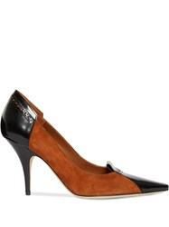Burberry Brogue Detail Two Tone Suede And Leather Pumps Brown