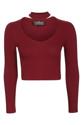 Topshop Petite Long Sleeve Choker Top Berry Red