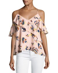 Tanya Taylor Designs Chiara Cold Shoulder Textured Silk Abstract Floral Top Pink Pink Pattern