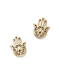 Moon And Meadow Hamsa Hand Stud Earrings In 14K Yellow Gold 100 Exclusive