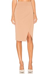 Kendall Kylie Compact Overlap Pencil Skirt Brown