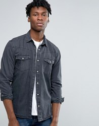 Pull And Bear Pullandbear Western Denim Shirt In Black In Regular Fit Black