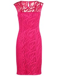 Gina Bacconi Geo Animal Embroidery Dress Fuchsia