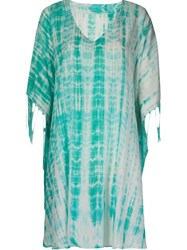 Sub V Neck Printed Kaftan Green