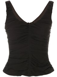 Armani Collezioni Ruched Detail Tank Top Silk Polyester Brown