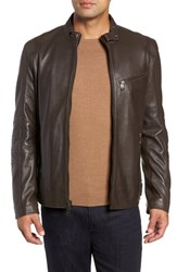 Andrew Marc New York Quilted Leather Moto Jacket Chocolate