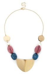 Sole Society Beaded Disc Necklace Multi