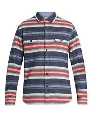 Faherty Striped Cotton Jacquard Long Sleeved Shirt Blue Multi