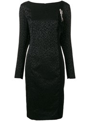 Class Roberto Cavalli Longsleeved Animal Print Dress Black