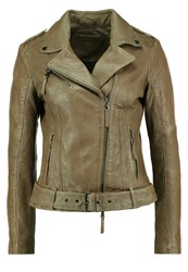 Be Edgy Nikola Leather Jacket Khaki