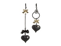 Betsey Johnson Heart Bow Drop Earrings Black Earring