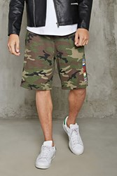 Forever 21 Multi Flag Camo Print Shorts Olive Black