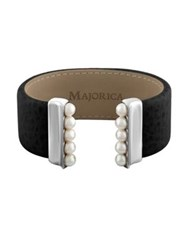 Majorica New Isla 5Mm White Pearl And Leather Bangle Black