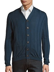 Brunello Cucinelli Textured Long Sleeve Cardigan Blue
