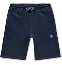 Schiesser Vincent Fleece Back Cotton Jersey Drawstring Shorts Blue