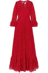 Valentino Ruffled Guipure Lace Gown Red