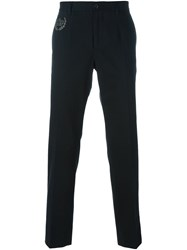 Dolce And Gabbana Embroidered Crown Trousers Black