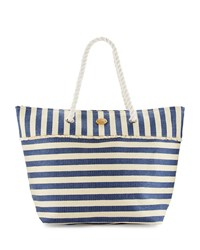 Capelli Of New York Cappelli Rope Handle Nautical Stripe Straw Tote Bag Navy White