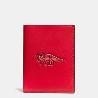 Coach Beast Passport Case In Glovetanned Leather Red