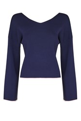 Topshop Clean Kimono Knitted Top Navy Blue