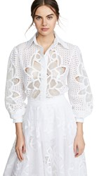 Costarellos Laser Cut Puff Sleeve Top White