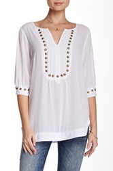 Nostalgia Elbow Length Sleeve Sheer Stud Blouse White