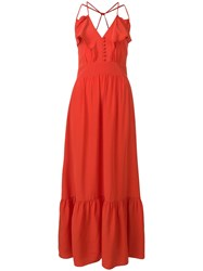 Vanessa Bruno Ruffle Trim Maxi Dress Red