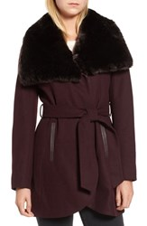 French Connection Faux Fur Collar Wool Blend Coat Wine