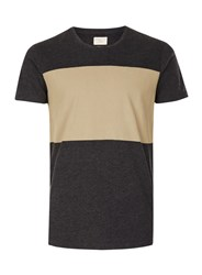 Topman Selected Homme Dark Grey And Tan Panelled T Shirt