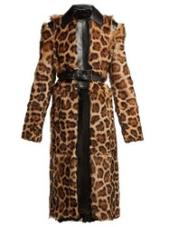 Givenchy Leopard Print Shearling Coat Multi
