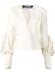 Jacquemus V Neck Fitted Blouse Women Cotton 34 White