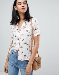 Pepe Jeans Suna Bird Print Rever Collar Shirt White Multi