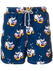 Mc2 Saint Barth Pig Print Swim Shorts Blue