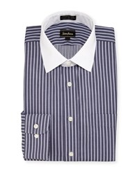 Neiman Marcus Classic Fit Non Iron Striped Dress Shirt Navy