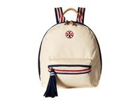 Tory Burch Embroidered T Backpack Natural Backpack Bags Beige