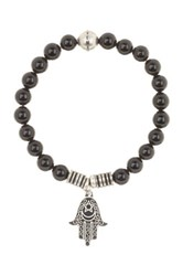 Steve Madden Black Onyx Beaded Hamsa Charm Stretch Bracelet Metallic