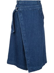 Sea Denim Wrap Skirt Blue