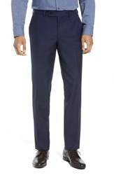 Ted Baker London Jefferson Flat Front Solid Wool Trousers Navy