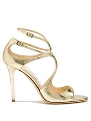 Jimmy Choo Lang 100Mm Leather Sandals Gold