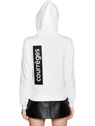 Courreges Hooded Zip Up Cotton Sweatshirt White