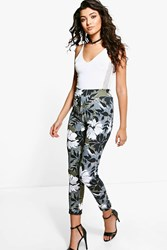 Boohoo Camo Floral Skinny Trousers Multi