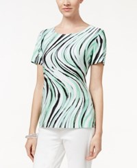 Jm Collection Textured Tee Wave Print Mint Green