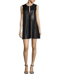 Josie Natori Faux Leather Sleeveless Shift Dress Black