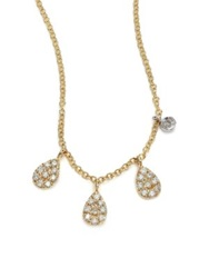 Meira T Diamond And 14K Yellow Gold Pear Charm Necklace