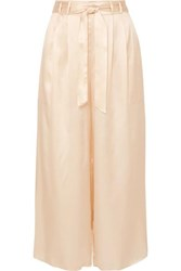 Le Kasha Gansu Cropped Silk Satin Wide Leg Pants Beige