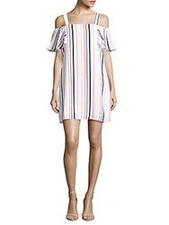 Collective Concepts Striped Cold Shoulder Dress Blue Pink