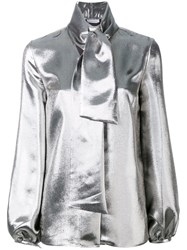Racil Delirious Neck Tie Shirt Women Silk Polyester Metal 40 Metallic